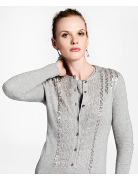 Wool Cashmere Blend Beaded Cardigan by Brooks Brothers