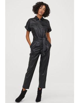 Faux Leather Jumpsuit by H&M