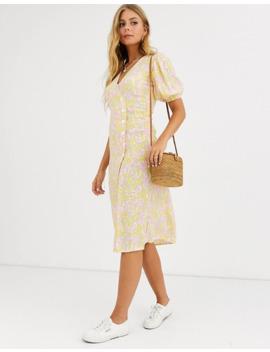 Faithfull Fran Floral Wrap Midi Dress With Short Sleeves by Faithfull