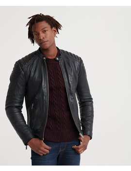 City Hero Leather Racer Jacket by Superdry