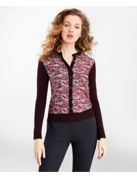 Deer Print Mixed Media Cardigan by Brooks Brothers