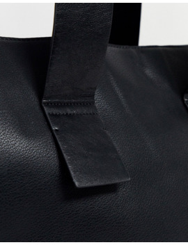 Mango Oversized Faux Leather Shopper In Black by Mango
