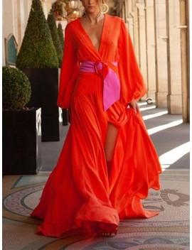 Orange Red Belt V Neck Lantern Sleeve Slit Big Swing Flowy Going Out Maxi Dress by Cichic