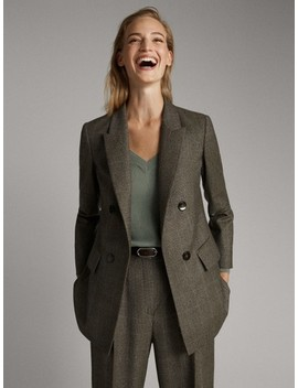 Karierter Blazer Aus Wolle by Massimo Dutti