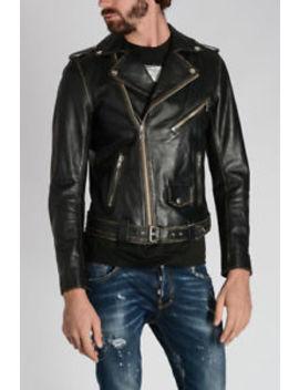 50% Off Diesel 'l Umenirok' Black Leather Biker Jacket With Belt Xxl Gold Style by Ebay Seller