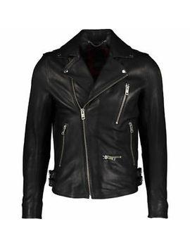 60% Off Diesel Black Leather Biker Jacket Xl Gold Style Rrp £750 by Ebay Seller