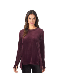 Women's Cuddl Duds Double Plush Velour Long Sleeve Pullover by Cuddl Duds