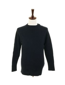 Yohji Yamamoto Y's For Men Dark Blue Sweater Shoulder Button Detail (000 714) by Yohji Yamamoto Y's For Men