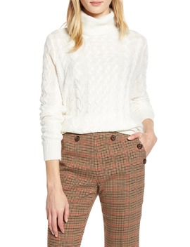 X Atlantic Pacific Cable Knit Turtleneck Sweater by Halogen®
