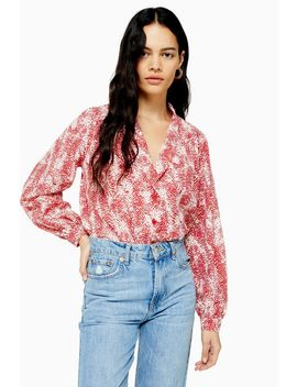 Red Animal Scallop Blouse by Topshop