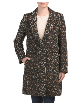 Animal Print Wool Blend Coat by Tj Maxx