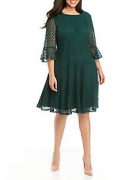 Plus Size Bell Sleeve Crochet Fit And Flare Dress by Chris Mc Laughlin