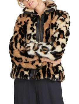 Faux Yo Info Leopard Faux Fur Jacket by Volcom