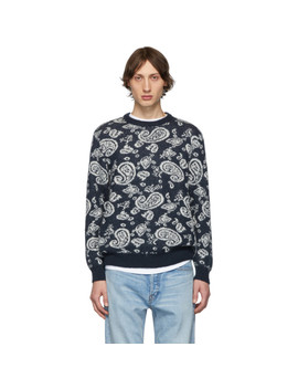 Navy Mohair Paisley Sweater by Aries