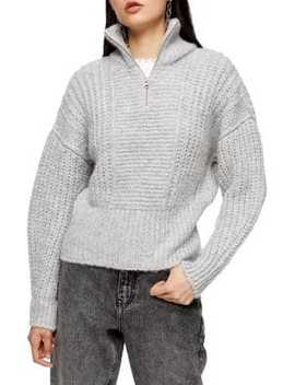 Knitted Zip Up Funnel Neck Sweater by Topshop