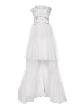 Gathered Asymmetric Strapless Tulle Dress by Giambattista Valli