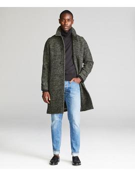 Italian Wool Fleck Topcoat In Olive by Todd Snyder