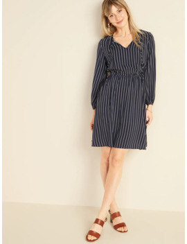 Pinstriped Waist Defined Tie Neck Dress For Women by Old Navy