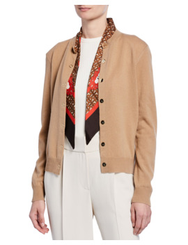 Cashmere Monogram Print Silk Scarfed Cardigan, Brown by Burberry