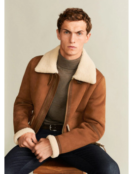 Faux Shearling Suede Effect Jacket by Mango