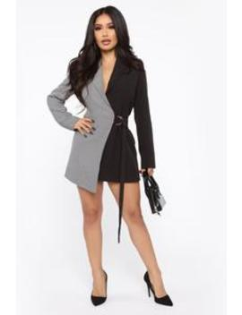 Pick A Side Blazer Dress   Black/Grey by Fashion Nova