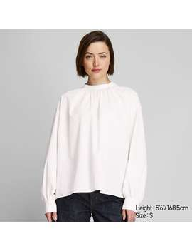 Cotton High Neck Volume Long Sleeve Blouse by Uniqlo