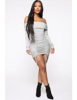 Simple Perfection Ruched Mini Dress   Heather Grey by Fashion Nova