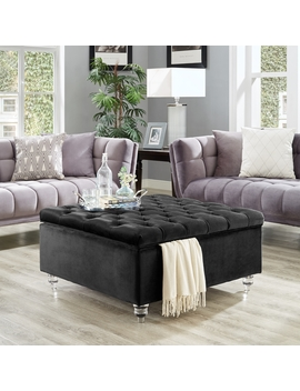 Bobbie Black Velvet Storage Ottoman   Cocktail Coffee Table | Square | Tufted | By Inspired Home by Inspired Home