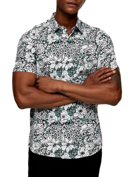 Slim Fit Floral Print Short Sleeve Button Up Shirt by Topman