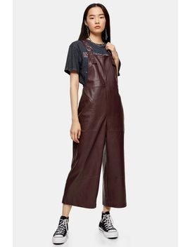 Burgundy Faux Leather Pu Dungarees by Topshop