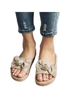 Women Casual Sandals Slipper Flat Bowknot Slip On Shoes Summer Beach by Lallc