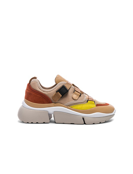 Sonnie Leather Velcro Strap Sneakers by Chloe