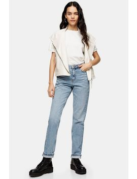 Bleach Wash Mom Jeans by Topshop