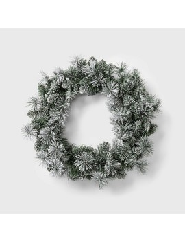 "24"" Prelit Warm White Led Battery Operated Chunky Flocked Mixed Artificial Pine Christmas Wreath   Wondershop™ by Wondershop"