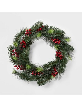 Berry And Pine Christmas Wreath Green And Red   Wondershop™ by Shop This Collection