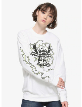 Disney Lilo & Stitch Glow In The Dark Skeleton Girls Sweatshirt by Hot Topic