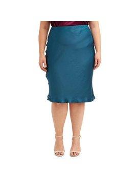 Women's Plus Size Jewel Tone Satin Finish Midi Skirt by Love Sadie