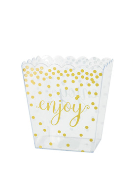 Small Metallic Gold Polka Dots Plastic Scalloped Container by Party City