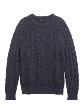 Wool Blend Cable Knit Sweater by Banana Repbulic