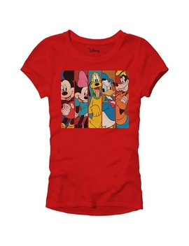 Disney Mickey Minnie Mouse Pluto Donald Duck Goofy Panels World Disneyland Funny Women's Juniors Slim Fit Adult Graphic Tee T Shirt Red by Disney