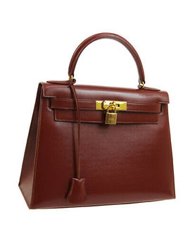 Hermes Kelly 28 Sellier Hand Bag X W Purse Brown Box Calf Vintage France Jt07514 by Ebay Seller