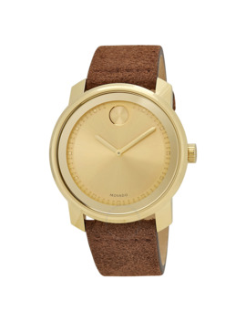 Bold Gold Sunray Dial Cognac Suede Men's Watch by Movado