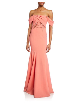 Off The Shoulder Crepe Gown W/ Draped Bodice & Beaded Embroidery by Marchesa Notte