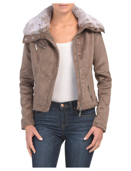 Juniors Faux Suede Jacket With Faux Fur Collar by Tj Maxx