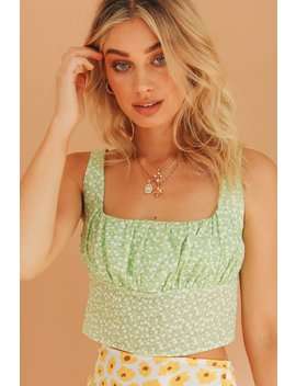 Sense Of Confidence Floral Top // Lime by Vergegirl