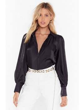 The Big Picture Satin Balloon Sleeve Shirt by Nasty Gal