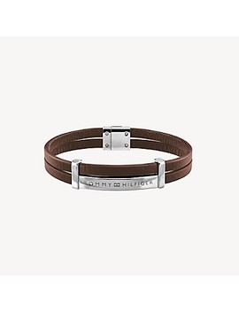 Icon Id Bracelet With Brown Leather Strap by Tommy Hilfiger