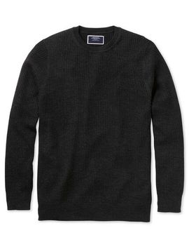 Charcoal Merino Rib Crew Neck Sweater by Charles Tyrwhitt