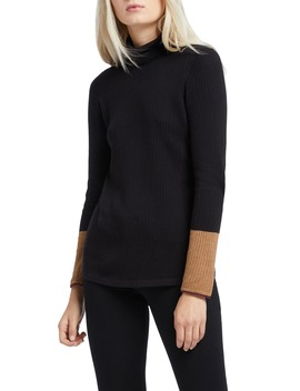 Balance Contrast Cuff Turtleneck Cotton Blend Sweater by Nic+Zoe