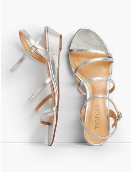 Capri Multi Strap Mini Wedge Sandals   Metallic by Talbots